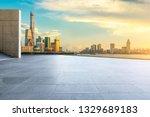 empty square floor and modern... | Shutterstock . vector #1329689183