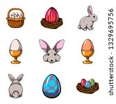 happy easter set with cute... | Shutterstock .eps vector #1329695756
