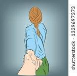girl leads the guy's hand. take ...   Shutterstock .eps vector #1329697373
