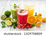 healthy fruit smoothies and... | Shutterstock . vector #1329708809