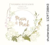 wedding invitation with white... | Shutterstock .eps vector #1329728843
