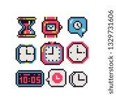 clock and time 8 bit pixel art... | Shutterstock .eps vector #1329731606