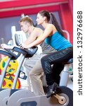 group of two people in the gym  ... | Shutterstock . vector #132976688