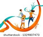 happy holi festival of colors... | Shutterstock .eps vector #1329807473