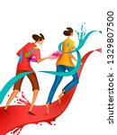 happy holi festival of colors... | Shutterstock .eps vector #1329807500