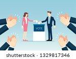 businessman and businesswoman... | Shutterstock .eps vector #1329817346