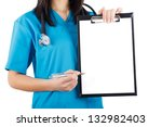 woman doctor nurse in blue coat ... | Shutterstock . vector #132982403