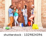multiracial friends using... | Shutterstock . vector #1329824396