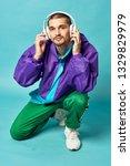 man listening music in...   Shutterstock . vector #1329829979