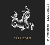 Capricorn Zodiac Symbol  Hand...