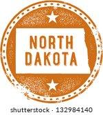 Vintage North Dakota USA State Stamp - stock vector