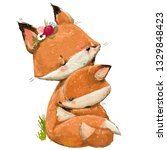 cute mom fox with her kid. | Shutterstock . vector #1329848423