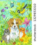 Stock photo  puppy kittens and bird in the garden hand cute illustration drawing with pets for design and 1329853310