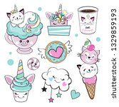 cat unicorn and sweets on a... | Shutterstock .eps vector #1329859193