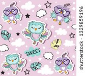 cute funny owls collection on a ... | Shutterstock .eps vector #1329859196