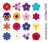 collection of colorful flowers... | Shutterstock . vector #1329867059