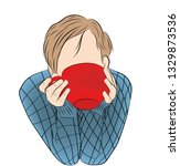 the guy is drinking coffee  tea ...   Shutterstock .eps vector #1329873536