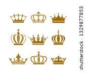 crown icon set heraldic symbol... | Shutterstock .eps vector #1329877853