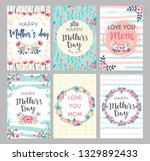 set of mothers day greeting... | Shutterstock .eps vector #1329892433