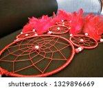 red woolen work and hanging... | Shutterstock . vector #1329896669