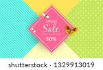 spring sale background banner... | Shutterstock .eps vector #1329913019