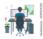 freelancer male programmer... | Shutterstock .eps vector #1329919769