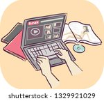 illustration of hands using... | Shutterstock .eps vector #1329921029