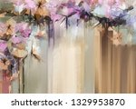 abstract floral oil color... | Shutterstock . vector #1329953870