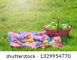 picnic basket with apples and... | Shutterstock . vector #1329954770