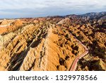 top view of rainbow mountains... | Shutterstock . vector #1329978566