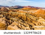 top view of rainbow mountains... | Shutterstock . vector #1329978623