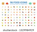 96 food full color line icons... | Shutterstock .eps vector #1329984929