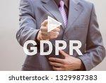businessman pressing button... | Shutterstock . vector #1329987383