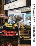 Small photo of London, UK - March 2, 2019: Fresh organic fruits and vegetables on sale inside Artichoke store in Hampstead, an affluent residential area of London favoured by artists and media figures.