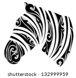 zebra with ornamental stripes.... | Shutterstock .eps vector #132999959