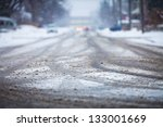 snow covered road  the marks of ... | Shutterstock . vector #133001669