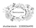 wedding card with lily flowers. ... | Shutterstock .eps vector #1330036490