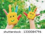 children hands in colors.... | Shutterstock . vector #1330084796