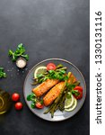 grilled salmon fish steak ... | Shutterstock . vector #1330131116