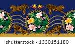 baroque border with leopards ... | Shutterstock .eps vector #1330151180