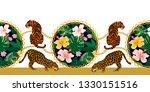 baroque border with leopards ... | Shutterstock .eps vector #1330151516