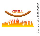 vector burning grill sausages... | Shutterstock .eps vector #1330158830