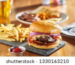 western style bacon burger with ... | Shutterstock . vector #1330163210