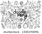 hand drawn kids doodle set.... | Shutterstock .eps vector #1330193096
