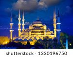 view of blue mosque or... | Shutterstock . vector #1330196750