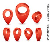 map pointer 3d pin. pointer red ... | Shutterstock . vector #1330199483