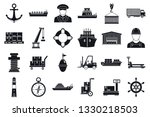 marine port transport icons set....