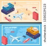 travel banners in isometric... | Shutterstock .eps vector #1330229123