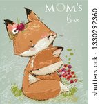 cute mom fox with her kid.... | Shutterstock .eps vector #1330292360