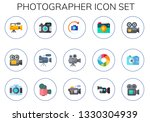 photographer icon set. 15 flat...